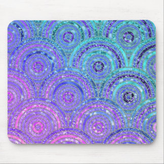 Luxury Aqua and Purple Glitter Dots and Circles Mouse Pad