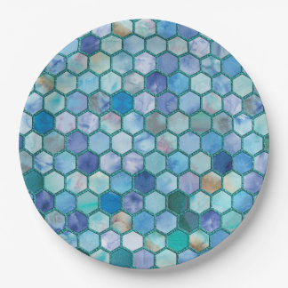 Luxury Aqua blue honeycomb pattern 9 Inch Paper Plate