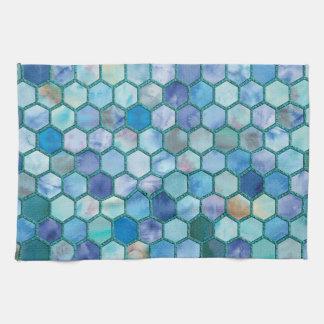 Luxury Aqua blue honeycomb pattern Hand Towels