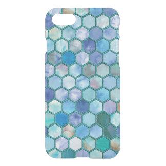Luxury Aqua blue honeycomb pattern iPhone 8/7 Case