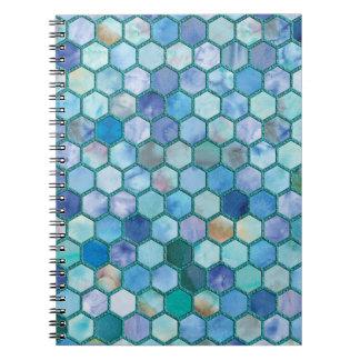 Luxury Aqua blue honeycomb pattern Notebook