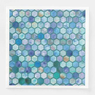 Luxury Aqua blue honeycomb pattern Paper Napkins
