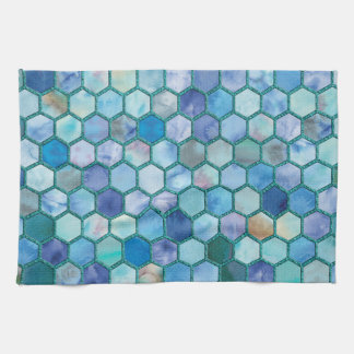 Luxury Aqua blue honeycomb pattern Tea Towel