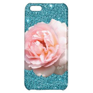 Luxury Aqua Glitter Floral iPhone 5C Slim Case Case For iPhone 5C