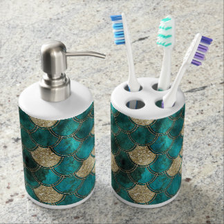 Luxury Aqua Green Mermaid Scales with Gold Glitter Soap Dispenser And Toothbrush Holder