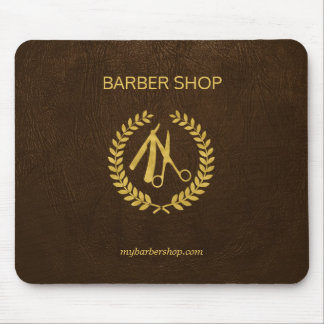 Luxury barber shop dark brown leather look gold mouse pad