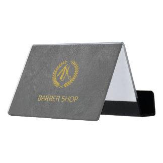 Luxury barber shop dark grey leather look gold desk business card holder