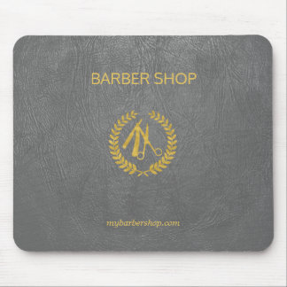 Luxury barber shop dark grey leather look gold mouse pad