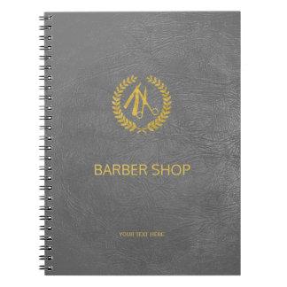 Luxury barber shop dark grey leather look gold spiral notebooks