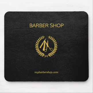 Luxury barber shop gold black leather look gold mouse pad