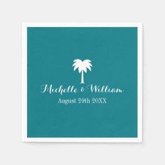 Luxury beach wedding napkins with palm tree logo paper napkin