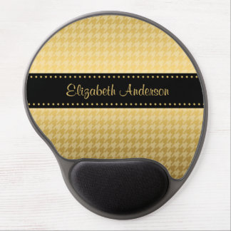 Luxury Black and Gold Houndstooth Pattern Gel Mouse Pad