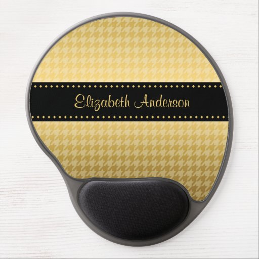 Luxury Black and Gold Houndstooth Pattern Gel Mouse Mat