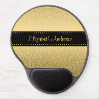 Luxury Black and Gold Jaguar Print With Name Gel Mouse Pad