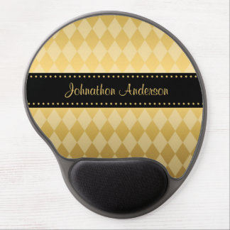 Luxury Black and Gold Masculine Argyle Gel Mouse Pad