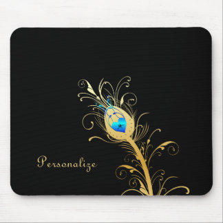 Luxury Black and Gold Peacock Feather Mouse Pad