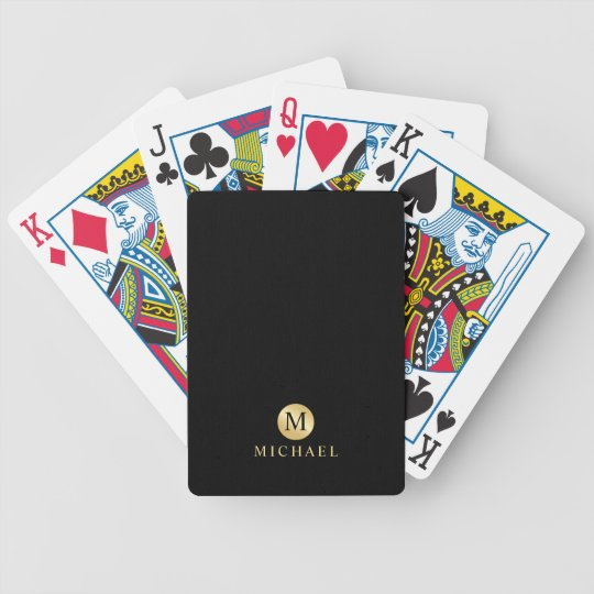Luxury Black and Gold Personalised Monogram Bicycle Playing Cards