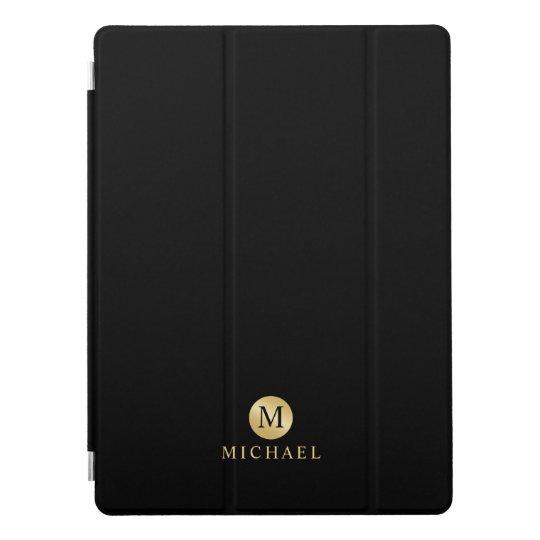 Luxury Black and Gold Personalised Monogram iPad Pro Cover