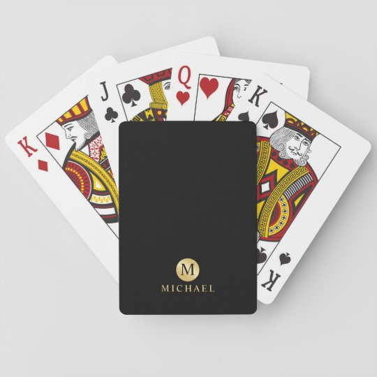 Luxury Black and Gold Personalised Monogram Playing Cards