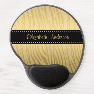 Luxury Black and Gold Tiger Stripes With Name Gel Mouse Pad