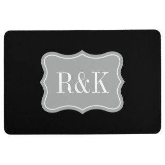 Luxury black and white monogram kitchen floor mat