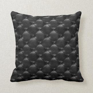Luxury Black Glam Tufted Leather Opulent Glam Cushion