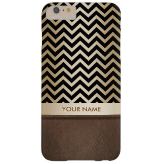Luxury Black & Gold Chevron Stripes Barely There iPhone 6 Plus Case