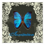 "Luxury Blue Butterfly Vintage Wedding Invitation 5.25"" Square Invitation Card"