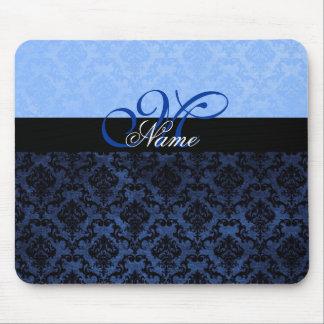 Luxury Blue Damask Monogram Mousepad Mouse Pads
