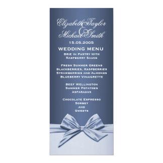 Luxury Blue Elegant Ribbon Wedding Menu 10 Cm X 24 Cm Invitation Card