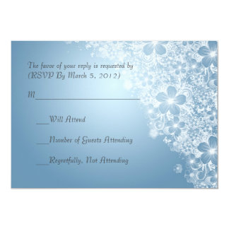 Luxury Blue Floral Spring Blanket RSVP card Personalized Invitations