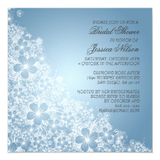 Luxury Blue Floral Spring Blanket Shower Invite