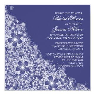 Luxury Blue Floral Spring Blanket Shower Invite Custom Invite