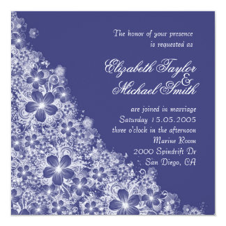 Luxury Blue Floral Spring Blanket Wedding Invite