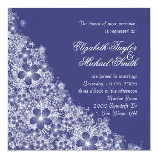 Luxury Blue Floral Spring Blanket Wedding Invite Invite