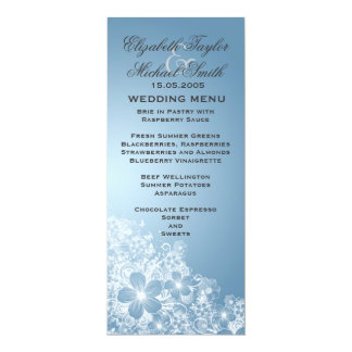 Luxury Blue Floral Spring Blanket Wedding Menu 10 Cm X 24 Cm Invitation Card