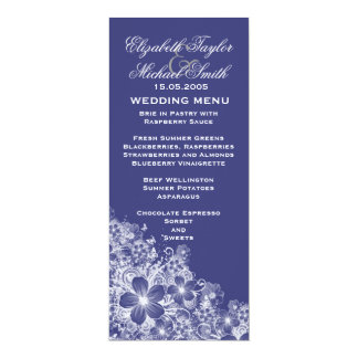 Luxury Blue Floral Spring Blanket Wedding Menu Custom Invitations