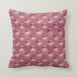 Luxury BrightPink Rose Tufted Leather Opulent Glam Cushion