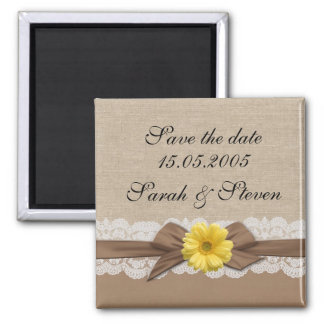 Luxury Brown Ribbon Burlap Lace Save the date Magnet