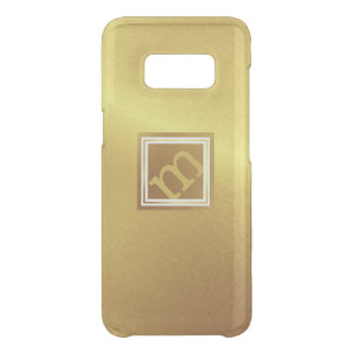 Luxury Brushed Gold with Framed Angled Monogram Uncommon Samsung Galaxy S8 Case