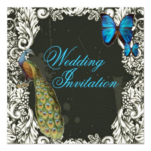 Luxury Butterfly Vintage  Peacock Invitation
