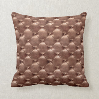 Luxury Copper Bronze Tufted Leather Opulent Glam Cushion