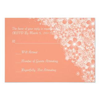 Luxury Coral Floral Spring Blanket RSVP card Cards