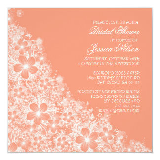Luxury Coral Floral Spring Blanket Shower Invite