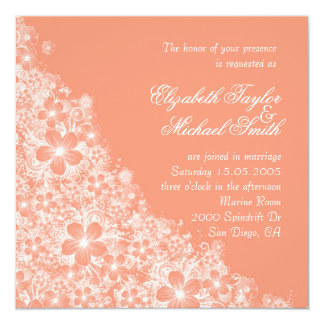 Luxury Coral Floral Spring Blanket Wedding Invite Custom Announcements