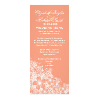 Luxury Coral Floral Spring Blanket Wedding Menu 10 Cm X 24 Cm Invitation Card