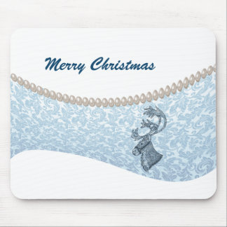 luxury damask  pearls  Christmas holiday reindeer Mouse Pad