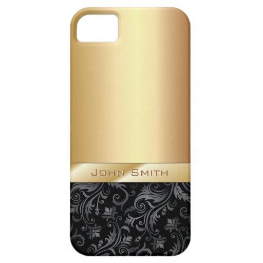 Luxury Dark Floral Gold Metallic iPhone 5 Case