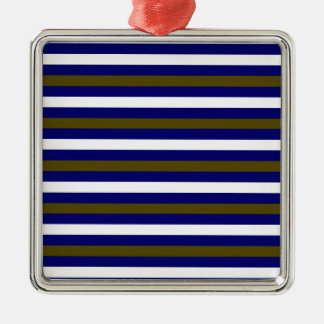 Luxury designers stripes / BLUE Metal Ornament
