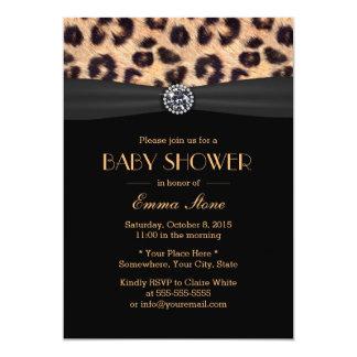 Luxury Diamond & Leopard Print Baby Shower 13 Cm X 18 Cm Invitation Card